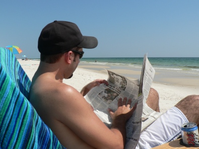 That's me reading my own story in the sports section on the Alabama Gulf Coast 2006.